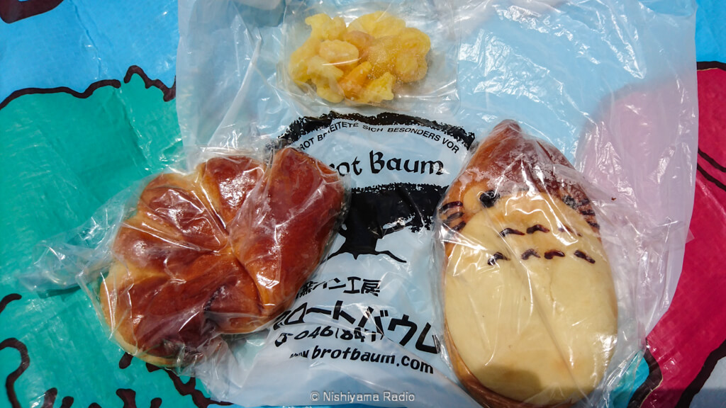 溶岩窯パン工房「ブロードバウム」のクリームパンとトトロパンとドライフルーツ